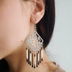 Vintage Pendant Earrings, Natural Porcupine Quills